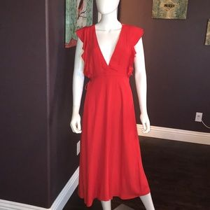 NWT Willow and Clay Wrap maxi dress, red XS